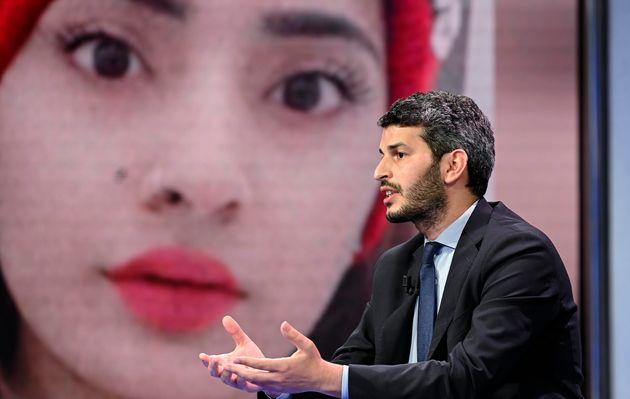 Yassine Lafram, presidente dell'Unione delle Comunita' Islamiche d'Italia (UCOII), durante la trasmissione...