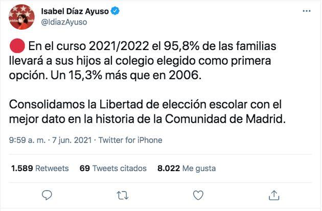 Tuit de Isabel Díaz Ayuso sobre la educación en