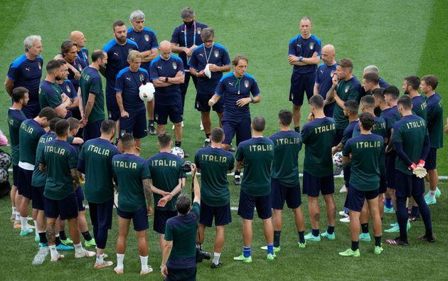 Soccer Football - Euro 2020 - Italy Training - Stadio Olimpico, Rome, Italy - June 10, 2021 Italy's coach...