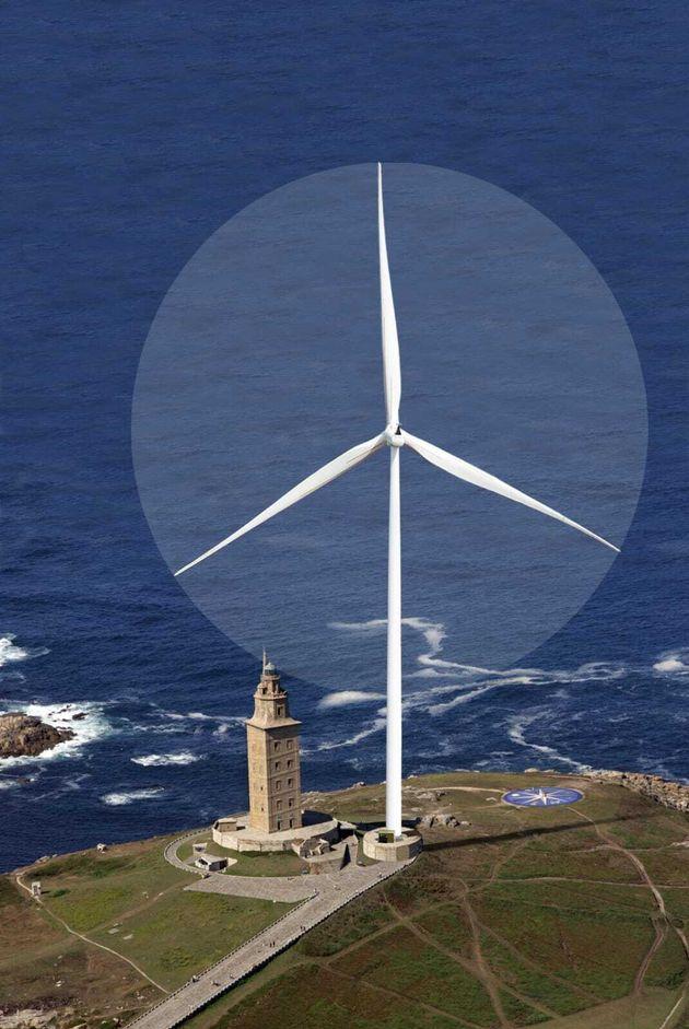 Recreación digital de un aerogenerador de 200 metros en comparación con la Torre de Hércules...