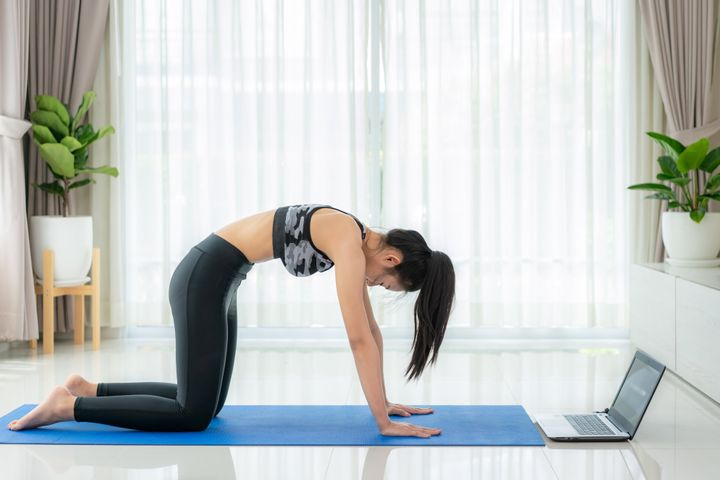 A cat pose, shown above, is a great stretch to improve spinal mobility.