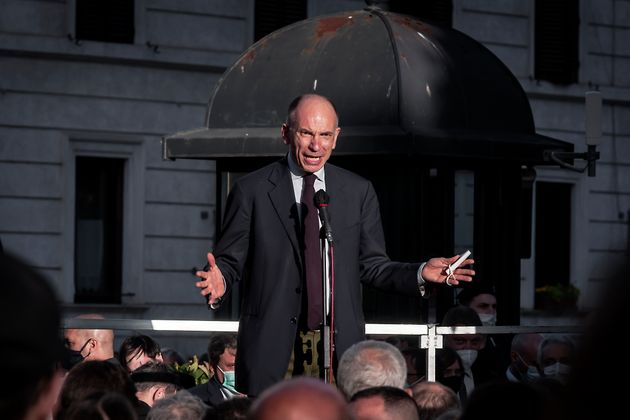 ROME, ITALY - MAY 12: Secretary of the Democratic Party (PD), Enrico Letta, speaks during a demonstration...