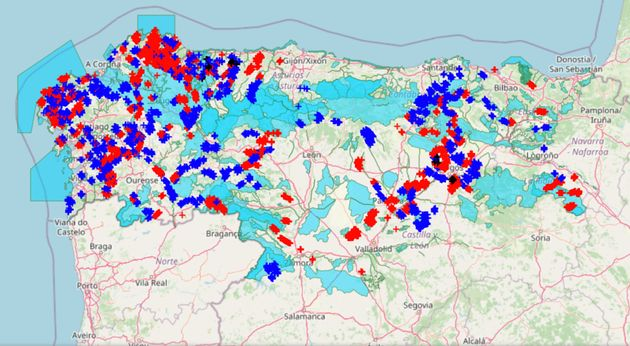 Mapa con las localizaciones de los aerogeneradores, en rojo los instalados y en azul los proyectados