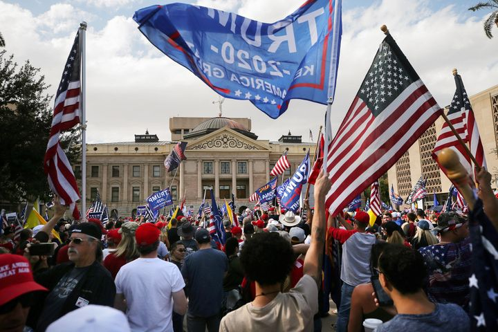 Angry Trump supporters rallied outside of the Arizona state capitol after Joe Biden was declared winner of the 2020 president