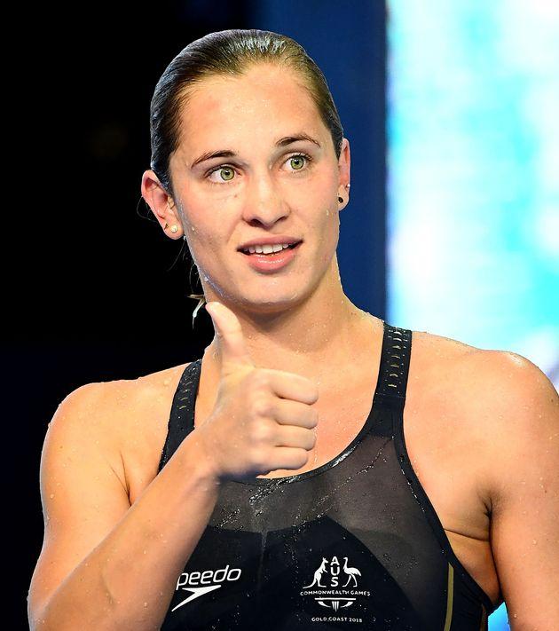 オーストラリアで開かれた競泳の大会に出場したマデリン・グローブス選手(2018年4月5日)