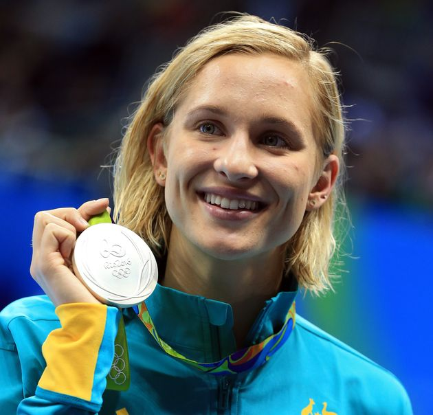 リオデジャネイロオリンピックの200mバタフライで銀メダルを獲得したグローブス選手(2016年8月10日)