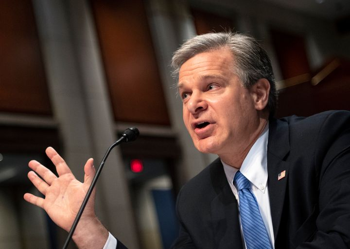 """UNITED STATES - June 10: Federal Bureau of Investigation Director Christopher Wray before the House Judiciary Committee for its hearing on """"Oversight of the Federal Bureau of Investigation in Washington on Thursday, June 10, 2021. (Photo by Caroline Brehman/CQ-Roll Call, Inc via Getty Images)"""