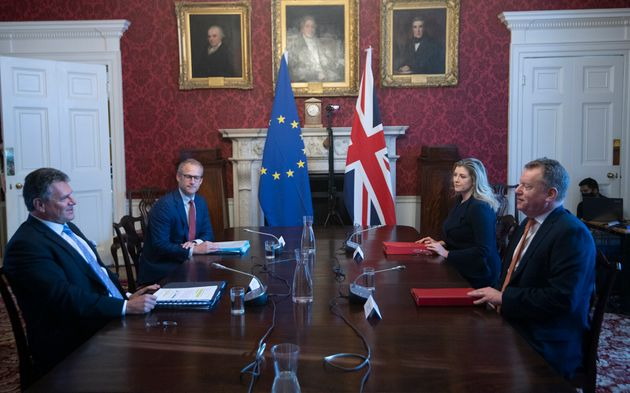 Brexit minister Lord Frost (R) holds talks with EU counterpart Maros Sefcovic (L) on the