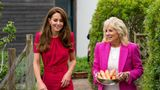 HAYLE, UNITED KINGDOM - JUNE 11: Catherine, Duchess of Cambridge (L) and U.S. First Lady Dr Jill Biden, carrying carrots for the school rabbit, Storm, during a visit to Connor Downs Academy, during the G7 summit in Cornwall on June 11, 2021 in Hayle, west Cornwall, England. (Photo by Aaron Chown/WPA Pool/Getty Images)