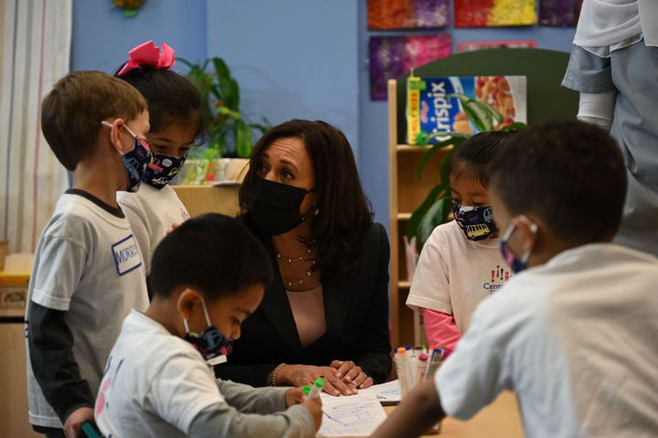 Vice President Kamala Harris visits an early childhood education center in Washington, D.C., on June 11.