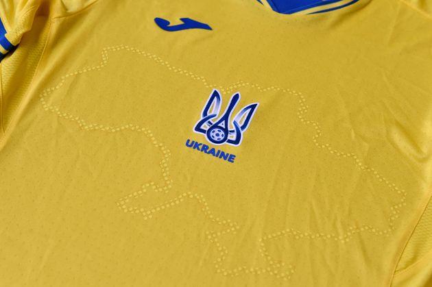 Une photo du maillot de la sélection ukrainienne pour l'Euro prise le 6 juin