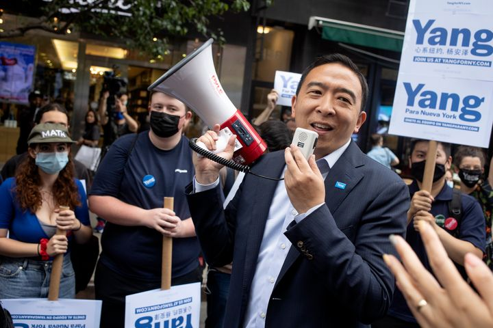 Progressives are suspicious of Yang's ties to venture capitalist and political consultant Bradley Tusk.