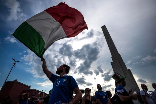 Arrival and checks of Italian and Turkish supporters prior the inaugural match of the UEFA EURO 2020...
