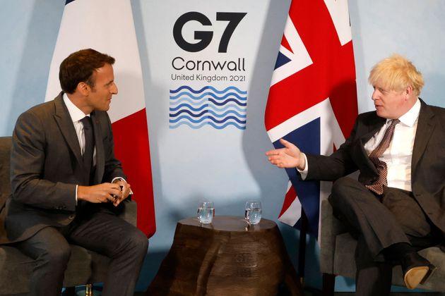 Boris Johnson and Emmanuel Macron meet during the G7 summit in Carbis Bay,