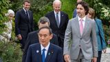 US President Joe Biden (C) and G7 leaders arrive for a family phtotograph during a reception at The Eden Project in south west England on June 11, 2021. - G7 leaders from Canada, France, Germany, Italy, Japan, the UK and the United States meet this weekend for the first time in nearly two years, for three-day talks in Carbis Bay, Cornwall. (Photo by Jack Hill / POOL / AFP) (Photo by JACK HILL/POOL/AFP via Getty Images)