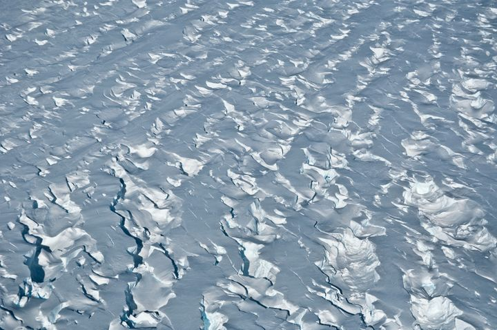 This January 2010 photo shows crevasses near the Pine Island Glacier grounding line, near its western margin in Antarctica. (