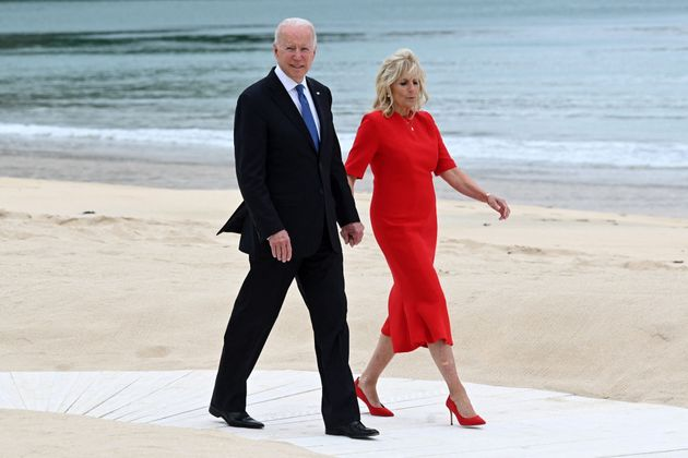 US President Joe Biden and US First Lady Jill Biden arrive for an offial photograph at the start of the...