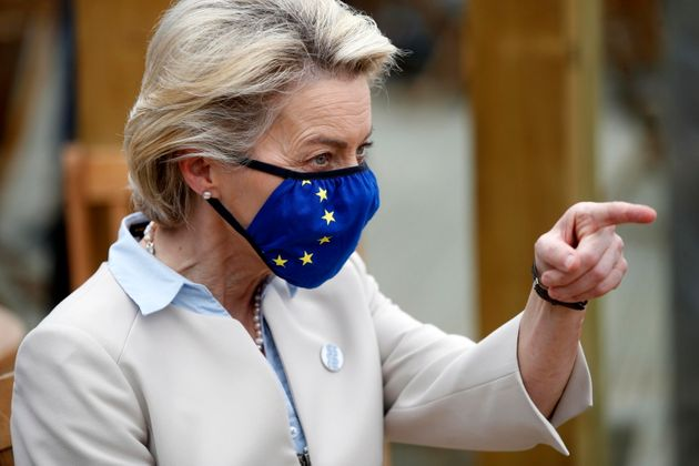 epa09261802 European Commission President Ursula von der Leyen gestures as she attends an EU coordination...