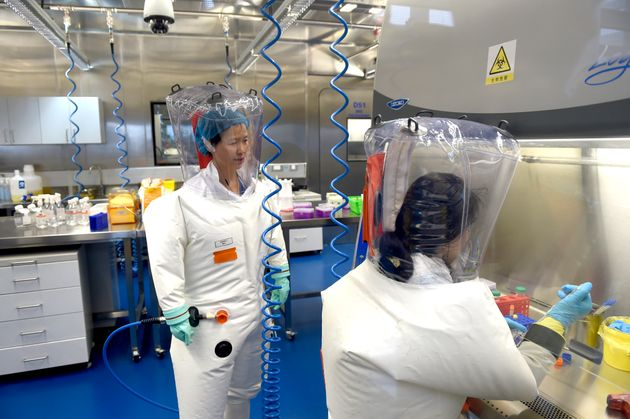 Scientists work at theWuhan Institute of