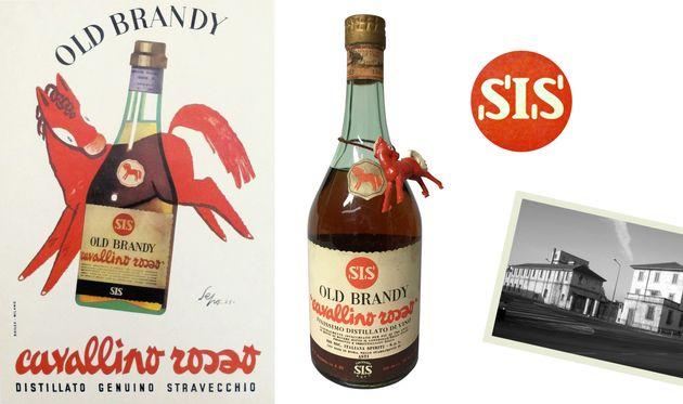 Immagini pubblicitarie del brandy Cavallino Rosso e l'area di Largo Isarco a Milano, un tempo edificio di Distillerie Italiane e dal 2015 sede della Fondazione Prada