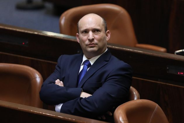 epa09268050 Leader of the Yemina party and designated prime minister Naftali Bennett during a special...