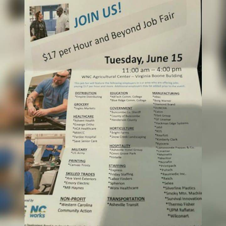 The job fair brochure that No Evil Foods' workers received upon being laid off.