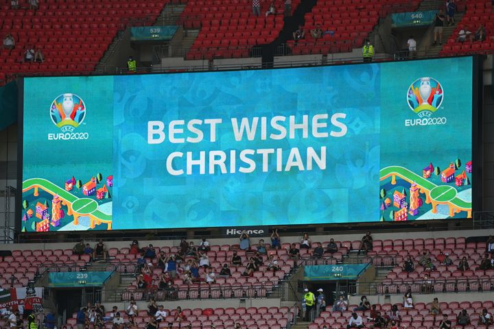 An LED screen inside London's Wembley Stadium shows a message of support for Christian Eriksen of Denmark ahead of UEFA