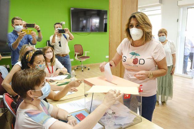 Susana Díaz, este domingo, en las primarias del PSOE-A, en