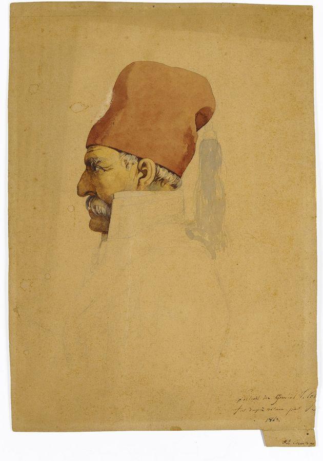 Πορτρέτο του Θεόδωρου Κολοκοτρώνη, υδατογραφία και μολύβι σε χαρτί, 27,5 Χ 20