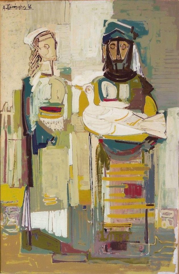 Αλέκος Κοντόπουλος, Femmes et oiseau, 161 X 107