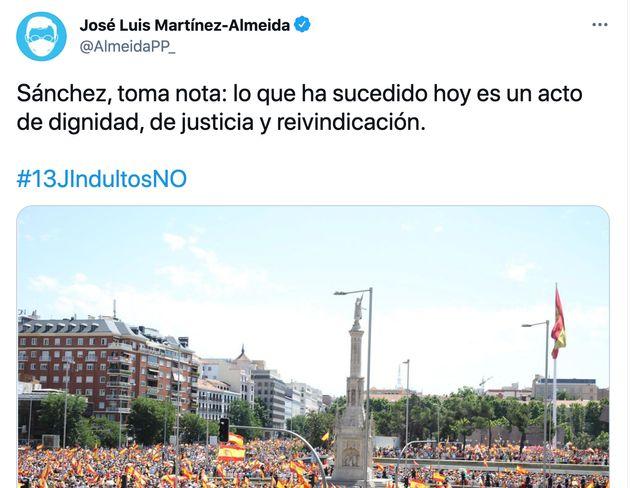 Captura de pantalla del tuit de José Luis