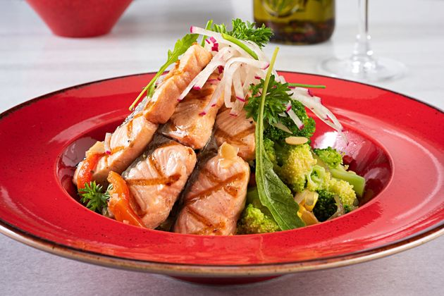 Grilled salmon with avocado salad