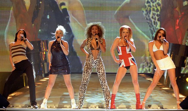 The Spice Girls on stage at the 1997 Brit
