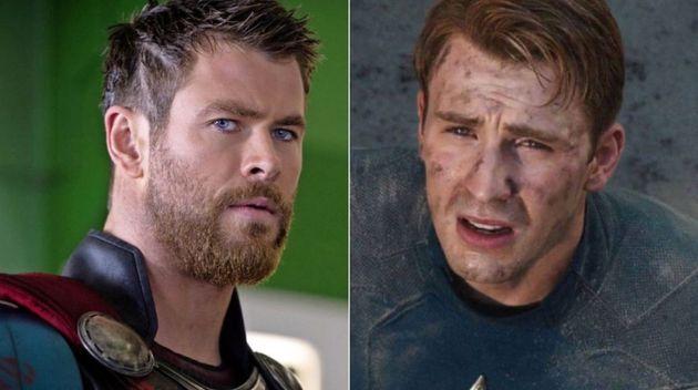Chris Hemsworth en su papel de Thor y Chris Evans como Capitán