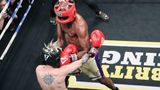 ATLANTIC CITY, NJ - JUNE 11: Lamar Odom lands a punch on Aaron Carter during their Celebrity Boxing match with Lamar Odom at Showboat Atlantic City on June 11, 2021 in Atlantic City, New Jersey. (Photo by Donald Kravitz/Getty Images)