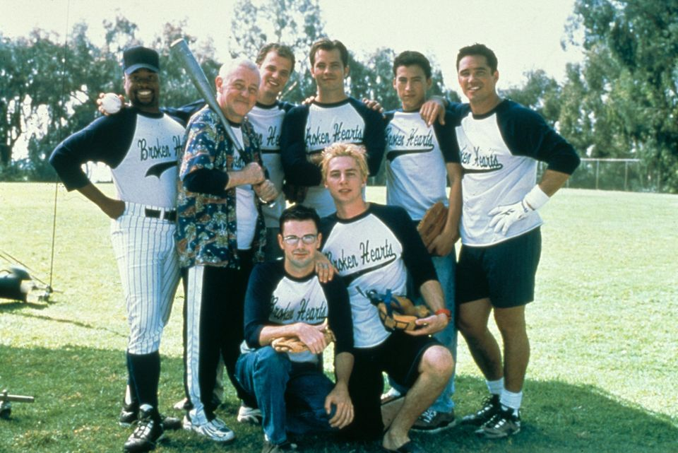 The cast of The Broken Hearts Club, including Zach Braff, Dean Cain and Billy