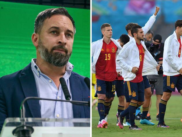 Santiago Abascal y los jugadores de la