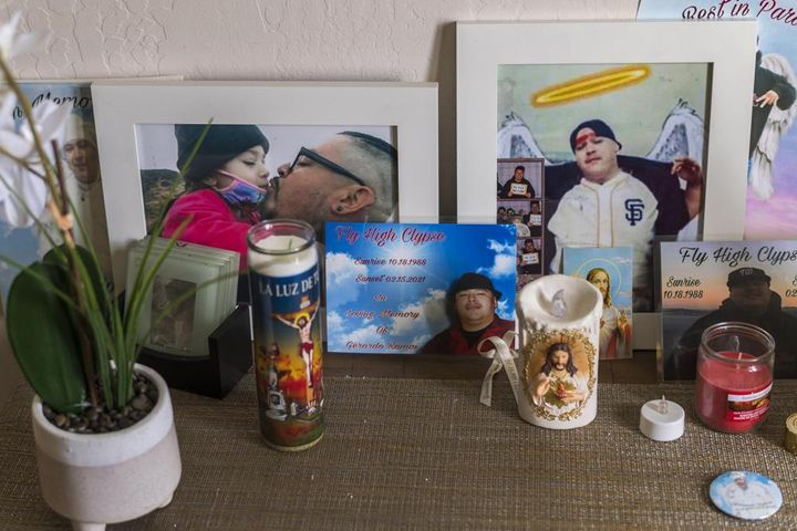 A memorial for Jerry Ramos sits at his home in Watsonville, Calif., Sunday, June 6, 2021.
