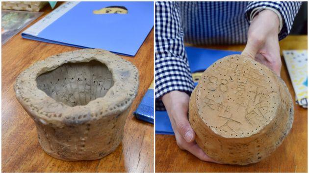 お父さんと一緒に作った、縄文土器ならぬ昭和土器 。「火起こし器で火をつけるって、結構難しいんですよ……」