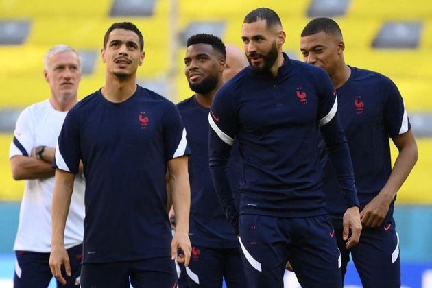 (From L) France's coach Didier Deschamps, France's forward Wissam Ben Yedder, France's midfielder Thomas...