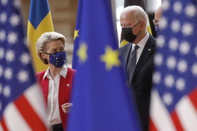 epa09272636 US president Joe Biden (R) is welcomed by President of the European Commission Ursula von...