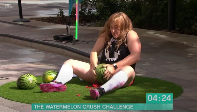 Emmajane appeared to set a new world record when she crushed three watermelons with her thighs live on