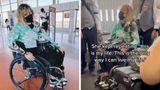 Gabrielle deFiebre in her wheelchair in a Phoenix airport.