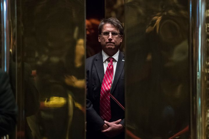 Former North Carolina Gov. Pat McCrory, shown here before a meeting with former President Donald Trump in 2016, was a clear f