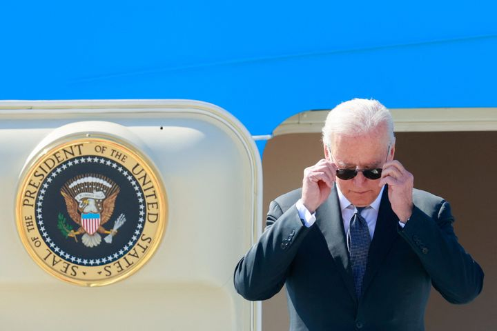 President Joe Biden steps off Air Force One as he arrives at Cointrin airport in Geneva on June 15, 2021.