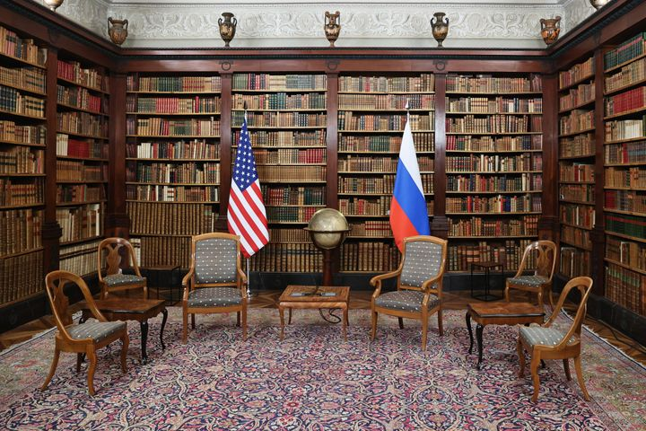 A room at the Villa La Grange arranged for Putin and Biden to hold their meeting.