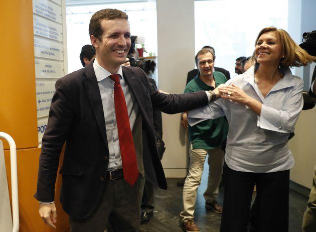 Pablo Casado y María Dolores de Cospedal, en junio de 2018, en la presentación de avales de sus candidaturas...