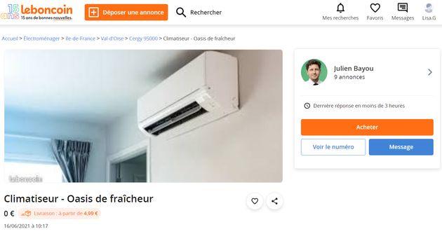 Climatiseur mis en vente par Julien