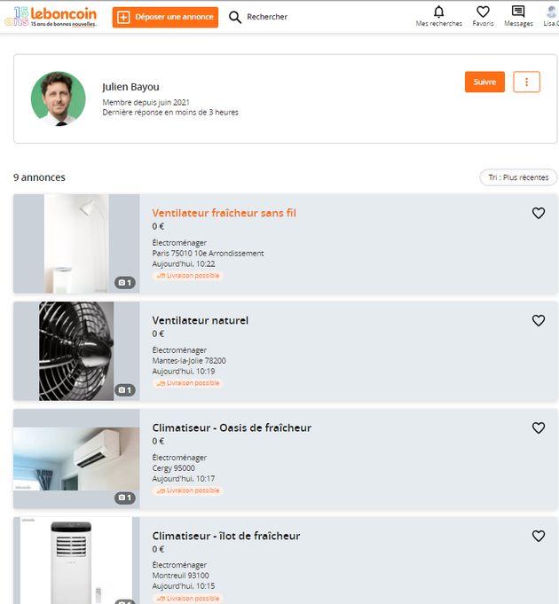 Julien Bayou a mis en vente des annonces de climatiseurs sur Le Bon Coin dans lesquelles il détaille...