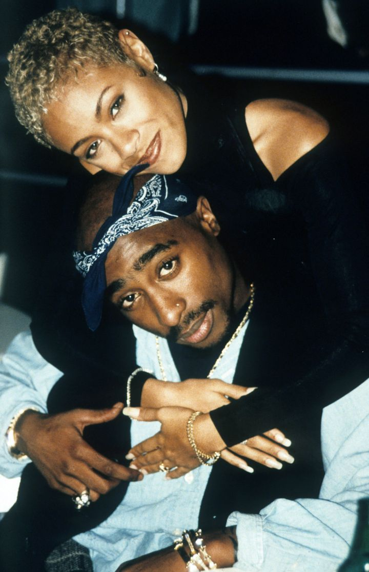 American actress Jada Pinkett Smith with American rapper Tupac Shakur, 1996. (Photo by Kevin Mazur Archive/WireImage)